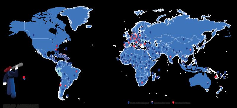优普全球分布